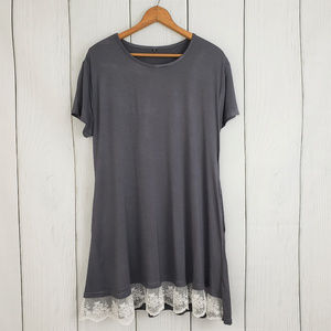 Gray Lace Bottomed Mini Dress Tunic XXL